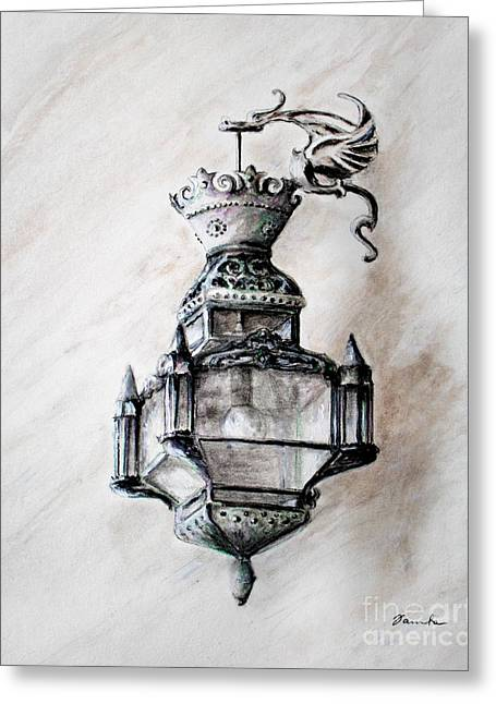 Daylight Drawings Greeting Cards - Lantern in broad daylight Greeting Card by Danuta Bennett
