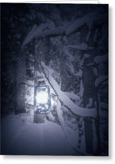 Snowy Evening Greeting Cards - Lantern In Snow Greeting Card by Joana Kruse