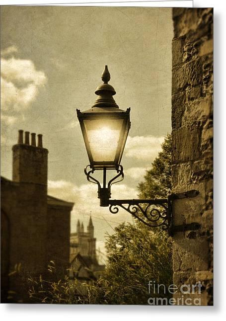 Stone Chimney Greeting Cards - Lantern Greeting Card by Jill Battaglia