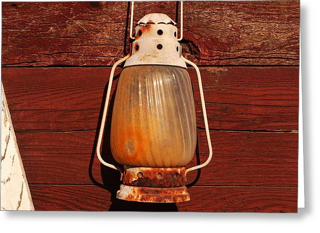 Latern Greeting Cards - Lantern On Red Greeting Card by Art Block Collections