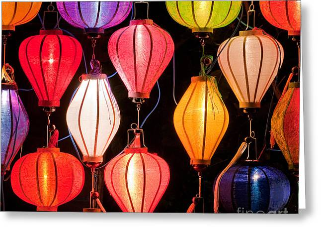 Viet Nam Greeting Cards - Lantern Stall 04 Greeting Card by Rick Piper Photography