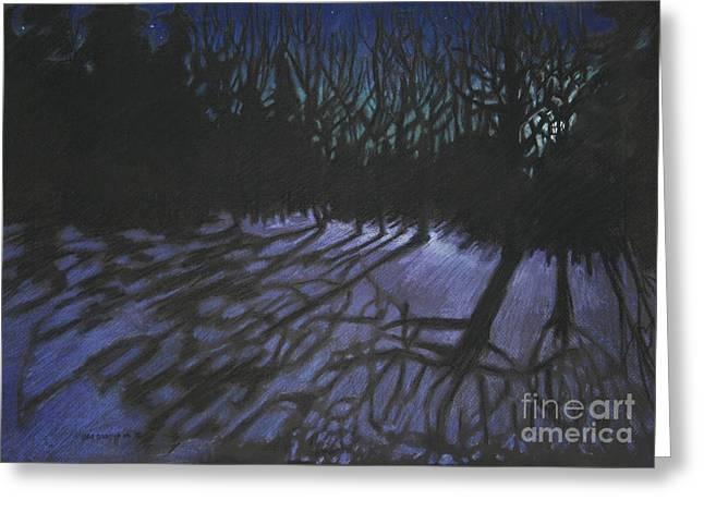 Night Scenes Pastels Greeting Cards - Lantern Waste Greeting Card by Pat Oldham