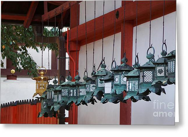 Nara Greeting Cards - Lanterns Greeting Card by David Bearden