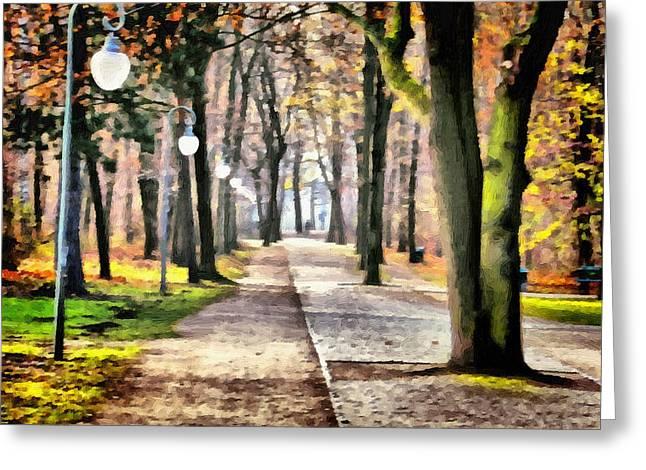 Tor Paintings Greeting Cards - Lanterns of Berlin Tiergarten Greeting Card by Ralph van Och