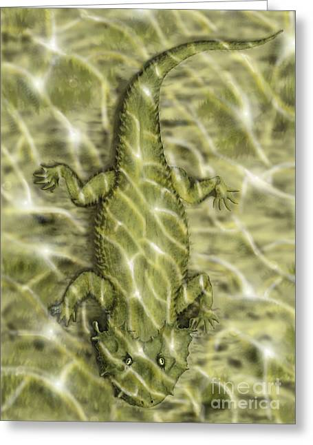 Recently Sold -  - Reflection In Water Greeting Cards - Lanthanosuchus, An Extinct Genus Greeting Card by Yuriy Priymak