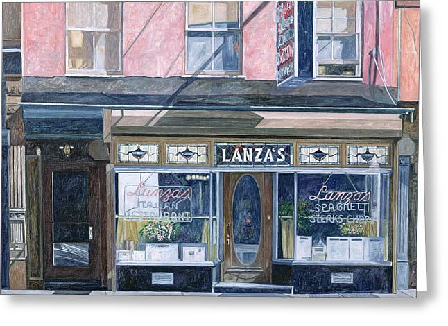 Fine Artworks Greeting Cards - Lanzas Restaurant 11th Street East Village Greeting Card by Anthony Butera