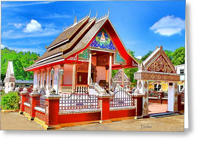 Buddha Sketch Greeting Cards - Lao Temple Greeting Card by Garland Johnson