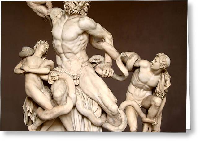 Snake Priest Greeting Cards - Laocoon and Sons Greeting Card by Ellen Henneke