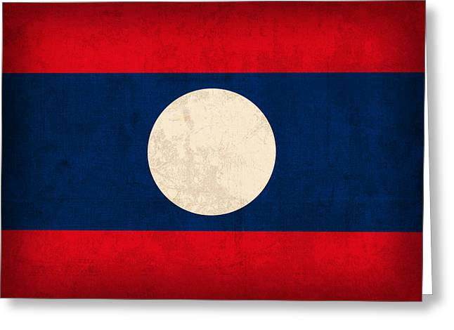 Laos Flag Vintage Distressed Finish Greeting Card by Design Turnpike