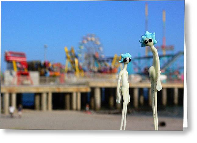 Surf City Greeting Cards - LAP Atlantic City Steel Pier Greeting Card by Jillian GrippingTEA