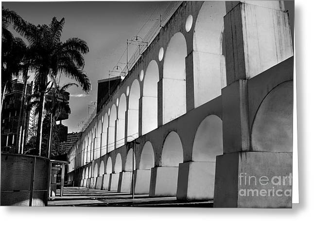 Turismo Greeting Cards - Lapa Arches in Black and White - Rio de Janeiro Greeting Card by Carlos Alkmin
