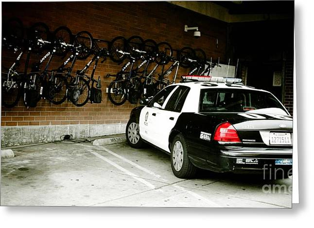 Police Cruiser Greeting Cards - LAPD cruiser and police bikes Greeting Card by Nina Prommer