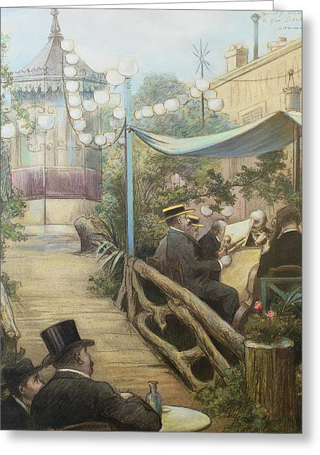 Street Lights Greeting Cards - Laperitif Concert, Rue Dorsel Greeting Card by Charles Maurin