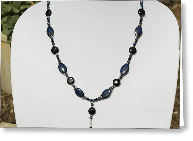 Design Jewelry Greeting Cards - Lapis Lazuli and Black Onyx Lariat Necklace 3675 Greeting Card by Teresa Mucha
