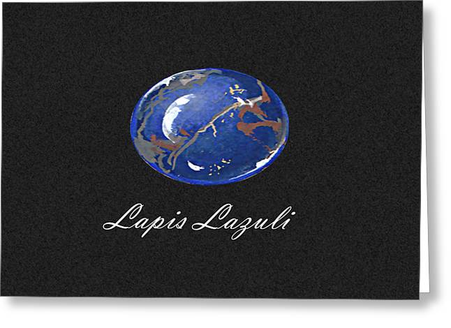 Carat Paintings Greeting Cards - Lapis Lazuli cabochon black Greeting Card by Marie Esther NC
