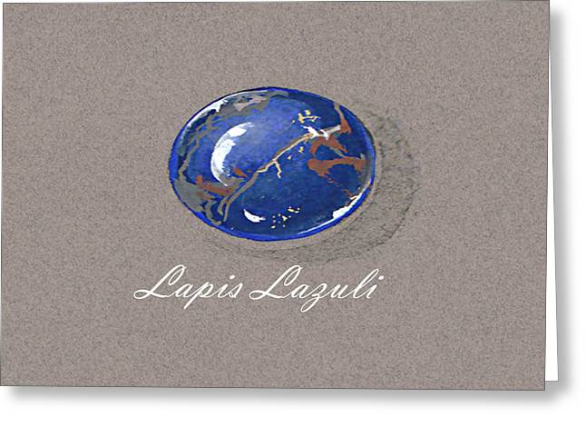 Carat Paintings Greeting Cards - Lapis Lazuli cabochon Greeting Card by Marie Esther NC