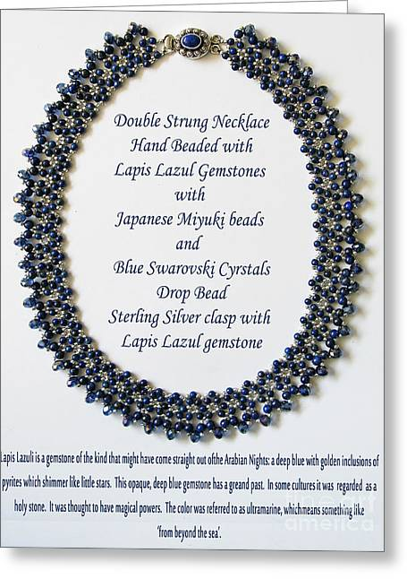 Natural Jewelry Greeting Cards - Lapis Lazuli Gemstone Necklace Greeting Card by Jennie Breeze