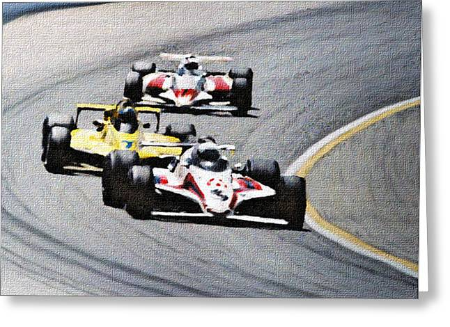 Indy Car Greeting Cards - Laps Greeting Card by Dennis Buckman