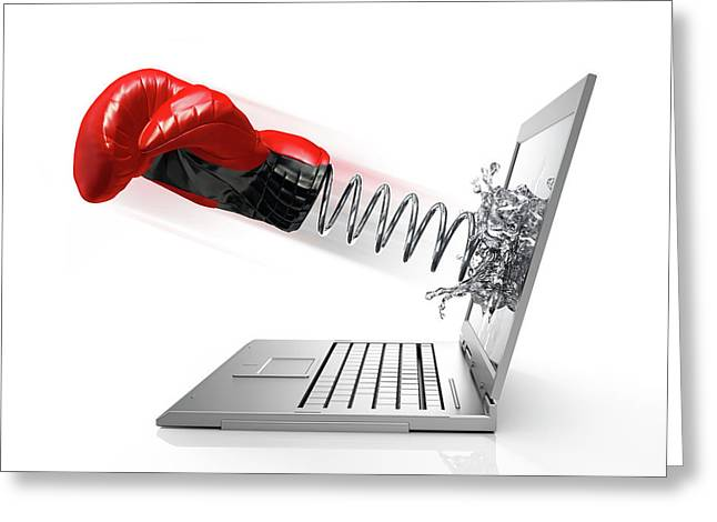 Laptop With Boxing Glove Greeting Card by Leonello Calvetti