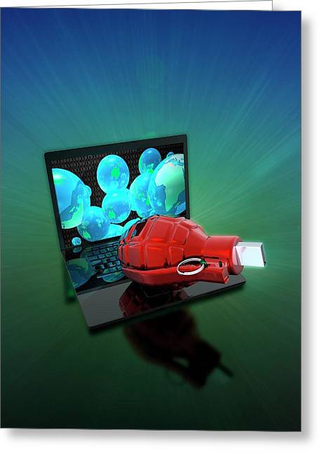 Laptop With Grenade And Usb Device Greeting Card by Victor Habbick Visions