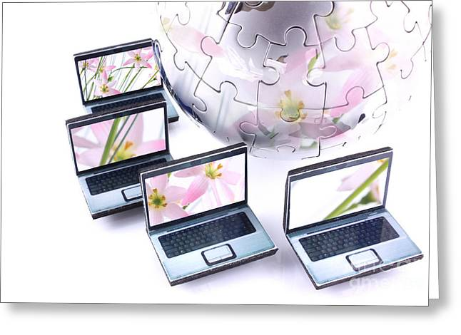 Jigsaw Greeting Cards - Laptops with pink flower reflection Greeting Card by Simon Bratt Photography LRPS