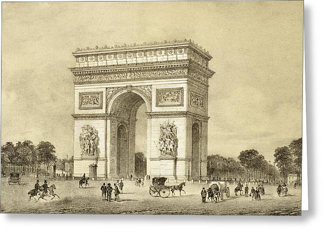 Arch Greeting Cards - Larc De Triomphe, Paris, Engraved Greeting Card by Jean Jacottet