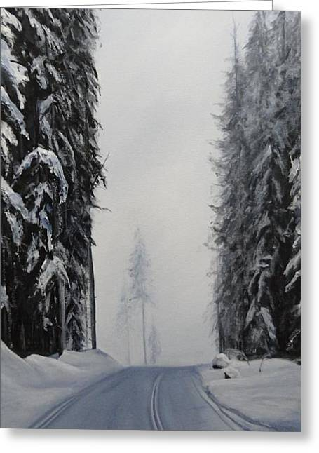 Recently Sold -  - Salmon Paintings Greeting Cards - Larch Hills lake View Ski Greeting Card by Cynthia Langford