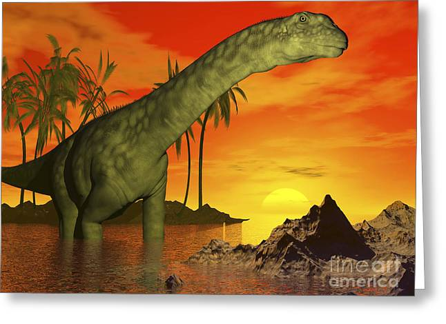 Colorful Cloud Formations Greeting Cards - Large Argentinosaurus Dinosaur In Water Greeting Card by Elena Duvernay