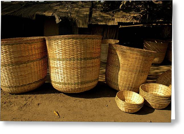 Large Baskets Woven From Cane Greeting Card by Jaina Mishra