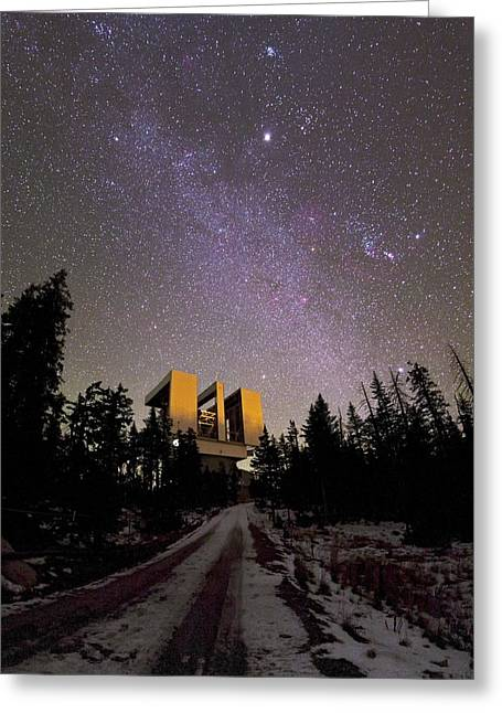 Snowy Night Night Greeting Cards - Large Binocular Telescope, Arizona, USA Greeting Card by Science Photo Library