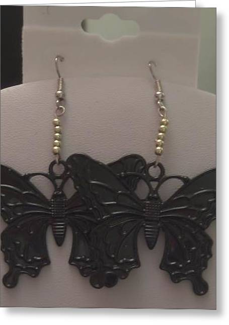 Bass Jewelry Greeting Cards - Large Black Butterfly Earrings Greeting Card by Kimberly Johnson
