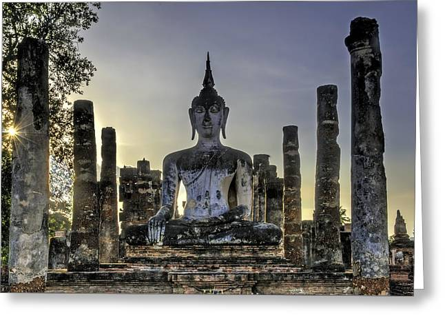 Historical Images Greeting Cards - Large Buddha Greeting Card by Maria Coulson