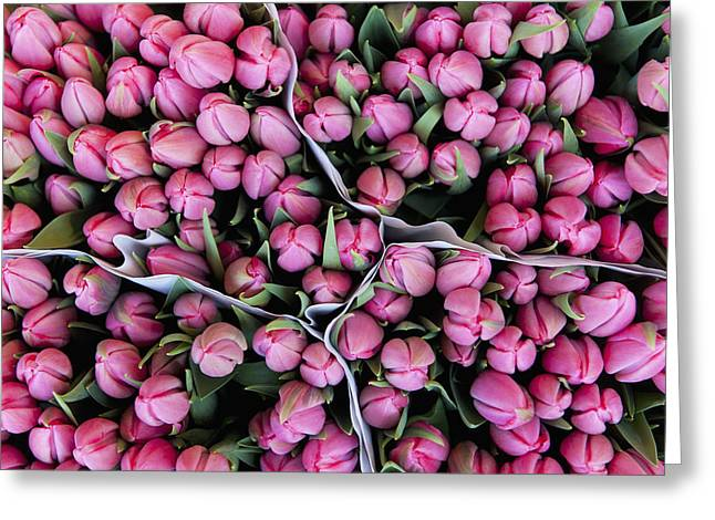 Dutch Culture Greeting Cards - Large Bunches Of Tulips For Sale In The Greeting Card by Ian Cumming