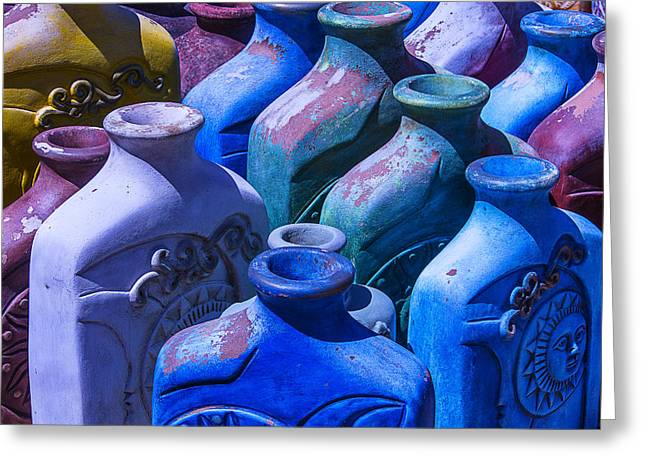 Rustic Colors Greeting Cards - Large Colorful Vases Greeting Card by Garry Gay