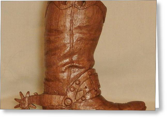 Boots Sculptures Greeting Cards - Large Cowboy Boot Greeting Card by Russell Ellingsworth