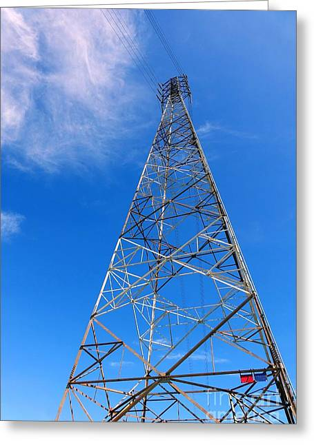 High Tower Greeting Cards - Large Electricity Pylon Greeting Card by Yali Shi