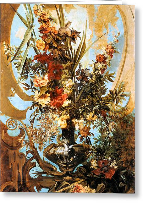 Master Piece Greeting Cards - Large Flower Piece  Greeting Card by Hans Makart