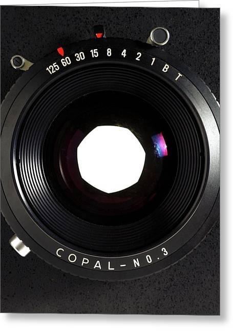 Large Format Adjustable Camera Lens Greeting Card by Victor De Schwanberg