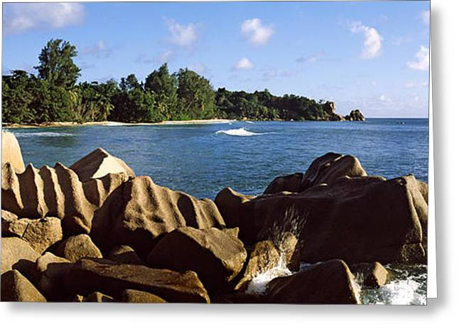 Panoramic Ocean Greeting Cards - Large Granite Rocks On The Shoreline Greeting Card by Panoramic Images