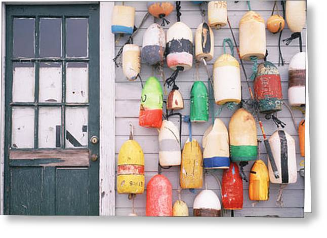 Glass Buoys Greeting Cards - Large Group Of Buoys Hanging On A Greeting Card by Panoramic Images
