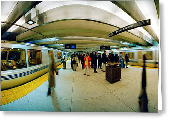 Fish Eye Lens Greeting Cards - Large Group Of People At A Subway Greeting Card by Panoramic Images