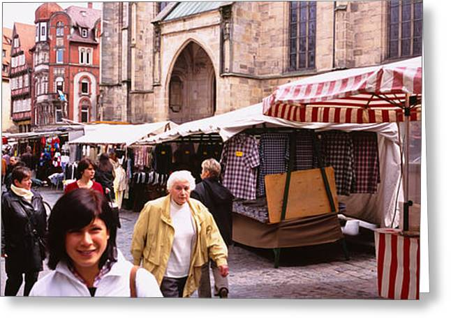 Open Market Greeting Cards - Large Group Of People Walking On The Greeting Card by Panoramic Images