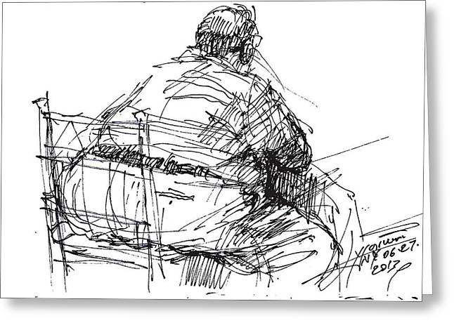 Large Drawings Greeting Cards - Large Guy Greeting Card by Ylli Haruni