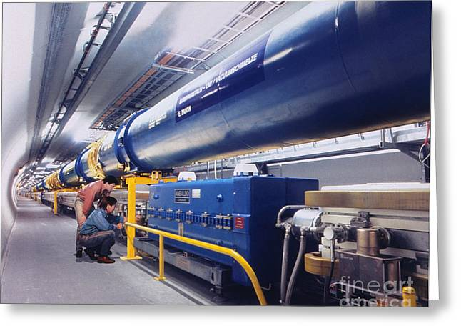Lhc Greeting Cards - Large Hadron Collider Greeting Card by David Parker & Julian Baum