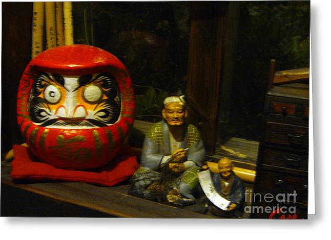 Sake Bottle Greeting Cards - Large Japanese Daruma with Statues Greeting Card by Feile Case
