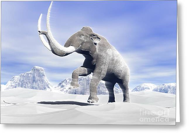 Snow-covered Landscape Digital Greeting Cards - Large Mammoth Walking Slowly Greeting Card by Elena Duvernay