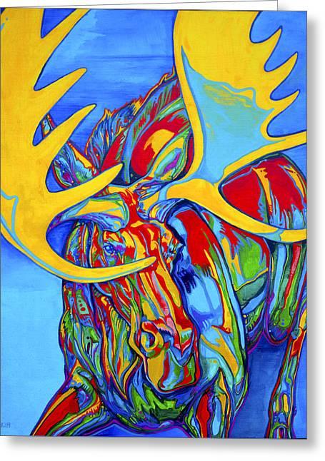 Rack Paintings Greeting Cards - Large Moose Greeting Card by Derrick Higgins