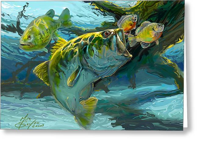 Striped Greeting Cards - Large Mouth Bass and Blue Gills Greeting Card by Savlen Art