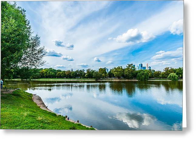 Nature Center Pond Greeting Cards - Large Novodevichy pond of Moscow - 2 Greeting Card by Alexander Senin
