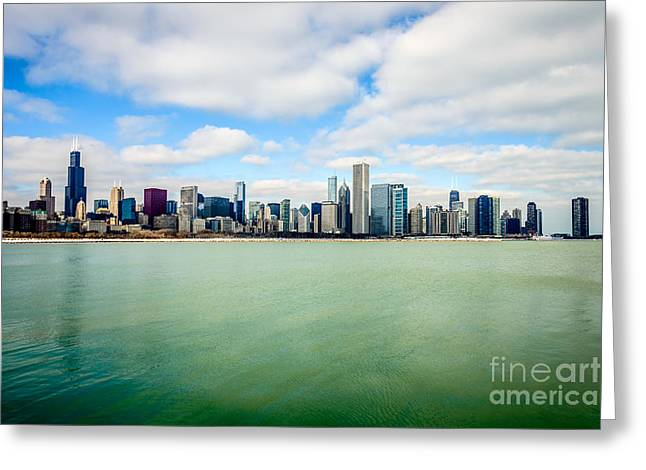 Midwest Scenes Greeting Cards - Large Picture of Downtown Chicago Skyline Greeting Card by Paul Velgos